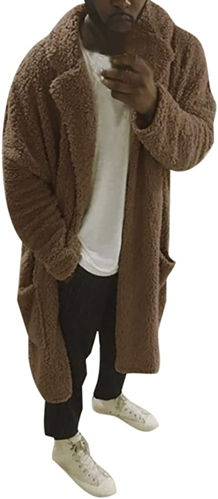 YAYUMI Men's Reversible Fleece Jacket Autumn/Winter Warm Coat Solid Color Pocket Top Sherpa Granulated Cardigan