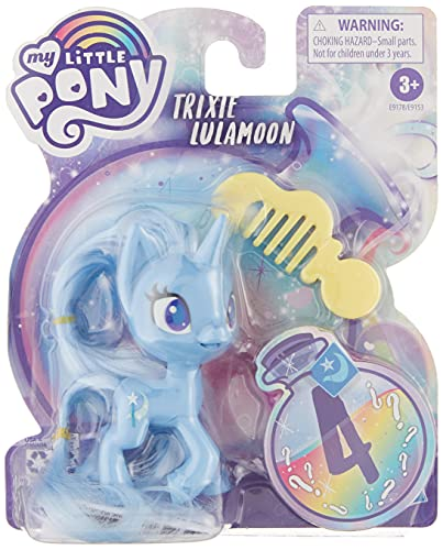 My Little Pony Trixie Lulamoon Potion Pony Figure -- 3-Inch Blue Pony Toy with Brushable Hair, Comb, and 4 Surprise Accessories