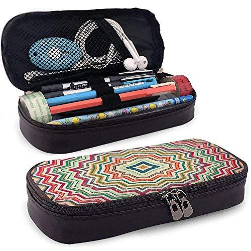 Estuche para lápices Vintage Zigzag Aztec Pu Cuero Lápiz Estuche para bolígrafo Estuche Estuche para la escuela Oficina Estuche para maquillaje cosmético, 4X9X20 cm