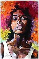 アフリカの女性抽象的な落書きアートポスターとプリントストリートアートキャンバス絵画壁アート写真家の装飾-50X70Cmフレームレス