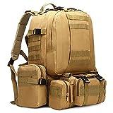 Mochilas 600D Oxford Impermeable Camping Mochila Gran Capacidad Militar Supervivencia Ataque Mochila Desmontable 2 paquetes laterales y 1 bolso de cintura Ocio al aire libre deporte viajes senderismo