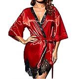 ManxiVoo Women Sexy Lingerie Silk Kimono Dressing Babydoll Lace Bath Robe Nightwear Sleepwear (Large, Red)