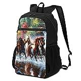 Mochila escolar Paquete de almacenamiento para ordenador portátil, mochila indios nativos americanos caballos casual mochilas de negocios mochila de viaje senderismo mochila colegio