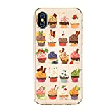 LuGeKe Cupcake Sweets Phone Case Cover Slim fit Flexible Crystal Clear Phone Cover Shell for iPhone 7 Plus/iPhone 8 Plus Anti-Scratch and Comfortable (Cute Cake Design)