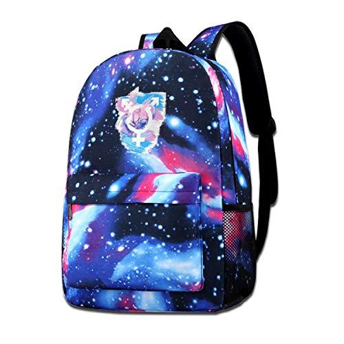 NFRRT Transgender Pride Bisexual Dragon Galaxy Casual Daypack - Blue Unisex Backpack Shoulder Bag for School Travel
