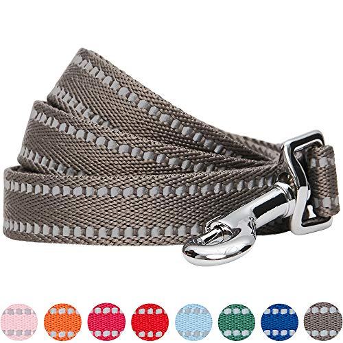 UMI. Essential Stabile, pastellfarbene, reflektierende Hundeleine 120x2,5cm in Graubraun, Large, Leinen für Hunde