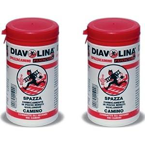 DIAVOLINA SPAZZACAMINO IN POLVERE GR. 270. 2 BARATTOLI PER PULIRE CANNE FUMARIE