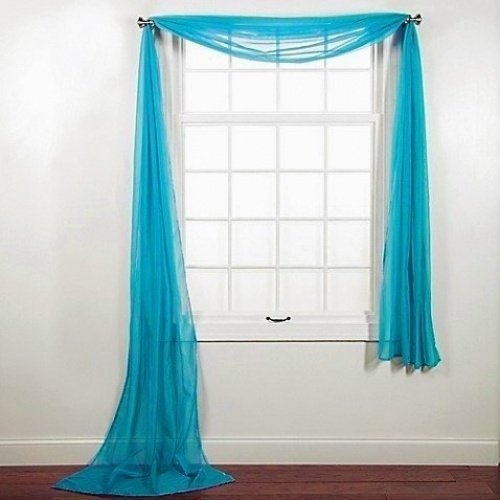 "Luxury Discounts Beautiful Elegant Solid Sheer Scarf Valance Topper Long Window Treatment Scarves (55"" x 216"" - Scarf, Turquoise)"