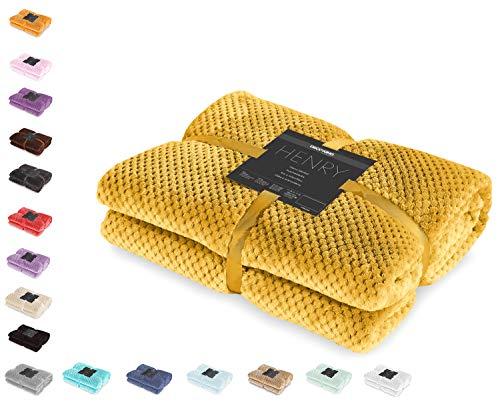 DecoKing Kuscheldecke 220x240 cm senfgelb hell orange Decke Microfaser Wohndecke Tagesdecke Fleece weich sanft kuschelig skandinavischer Stil gelb Henry