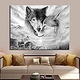 Nordic Wolf Animal Wall Art Lienzo en Blanco y Negro póster Imagen de la Pared...