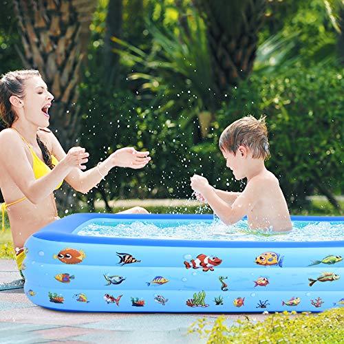 Aufblasbarer Pool Planschbecken, Pool Rechteckig, Pools & Schwimmbecken für Kinder, Familienpool, Baby Schwimmbad, Schwimmbäder für Garten, Outdoor, PVC-Leicht aufbaubar (123 x 75 x 46CM)