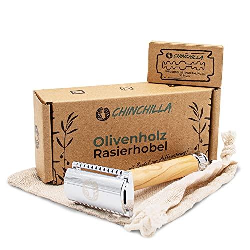 Chinchilla Rasoio in legno d ulivo - incluse 10 lamette e testa a 2 lati & con borsa portaoggetti - Rasoio di sicurezza ecologico e senza plastica per uomini e donne