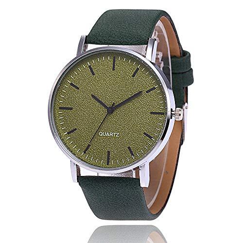 SANDA Reloj Hombre,Reloj de Carcasa Ultrafino de aleación, Cara de uñas con Tira Multicolor con Cinta, Reloj de Cuero Esmerilado, Reloj de Cuarzo versátil Simple-Verde
