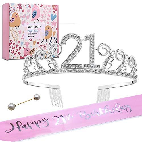 CS&BEAUTY Geburtstags Krone 21. Geburtstags Kristall Tiara Krone mit Geburtstags Schärpe Birthday Crown Prinzessin Kronen Haar-Zusätze - Silber für Geburtstagsfeiern oder Geburtstagskuchen