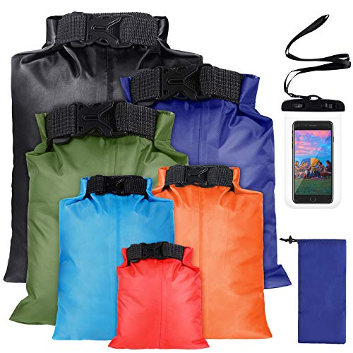6 Pieces Waterproof Dry Sacks Lightweight Combo Set Roll Top Outdoor Dry Storage Bag with Waterproof Phone Case for Kayaking Rafting Boating Hiking Camping Fishing (1.5L, 2.5L, 3L, 3.5L, 5L, 8L)