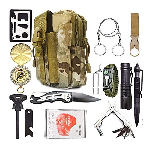 Neu 2021 Militärisches Survival Kit ZS-1 Notfall-Überlebenskit und EIN taktischer Beutel 13-in-1-Mehrzweck für Sie oder als Geschenk.