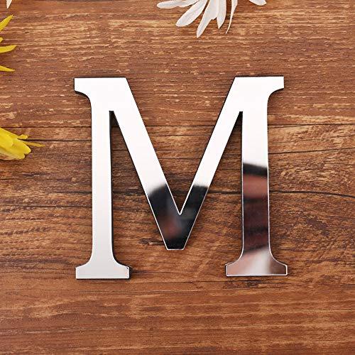 Homehome Calcomanía de espejo del alfabeto 1 pieza autoadhesiva de superficie de espejo con letra inglesa de acrílico creativa pegatina de pared DIY arte mural (M)