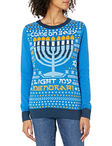 Ugly Christmas Sweater Company Women's Assorted Pullover Xmas Sweaters with Multi-Colored LED Flashing, Ocean Blue Light-Up Light My Menorah, L