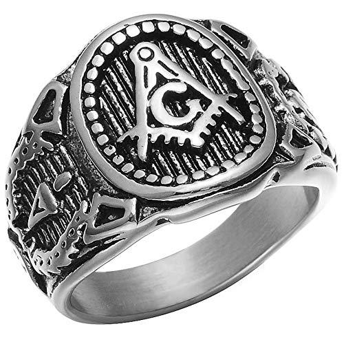 Jude Jewelers Retro Vintage Stainless Steel Masonic Master Freemason Biker Ring (Grey, 10)