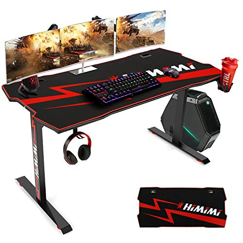 Computer Gaming Desk, Large Gaming Desk 60 inch, Black Computer Desk with Free Mouse Pad, T Ergonomic PC Gamer Desk with Cable Management, Headphone Hook, Cup Holder