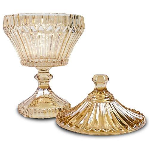 Potiche C/pé De Cristal Renaissance Âmbar 11, 5x21cm Lyor Âmbar No Voltagev