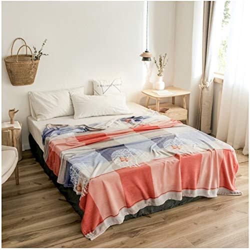 GNMDC Flanellen Zachte Huiddeken, Europese frisse stijl Stitching Art Patroon Deken, Office Slaapkamer Slaapbank Deken 180X220Cm