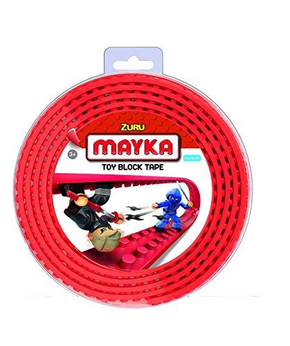MAYKA Spielsteinklebeband für Lego K´Nex und Megablocks, Lego Klebeband, 2m lang, 4 Noppen, Rot