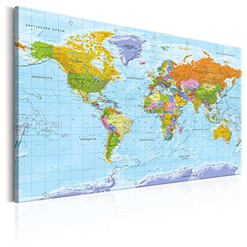 decomonkey 120x80 cm Politische Weltkarte Deutsch Pinnwand Leinwand Bilder Wandbilder Landkarte Welt Kontinente Reise Geographie