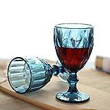 Vintage 6 Teile Set Rombus König Weinglas Glas Gläser Weingläser Wasserglas Longdrinkglas (blau) - 3