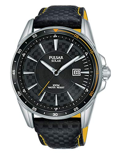 Pulsar Rally Herren-Uhr Solar Edelstahl mit Lederband PX3207X1