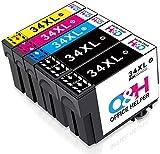 OfficeHelper 34XL Cartouches d'encre Compatible, Cartouches Compatible pour Epson Workforce Pro WF-3725DWF WF-3720DWF, Multipack 4 Couleurs T3476 (2 Noir, 1 Cyan, 1 Magenta, 1 Jaune)