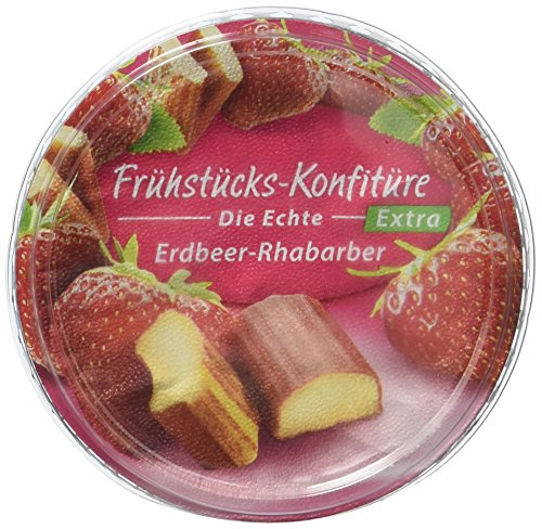 Zentis Frühstückskonfitüre Erdbeer-Rhabarber, 4er Pack (4 x 200 g Becher)