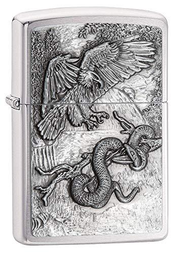 Zippo - Accendini animali, Unisex - Adulto, Eagle vs Snake Emblem Design Brushed Chrome Lighter, Aquila e Serpente, taglia unica