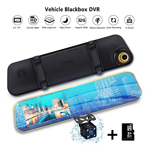 Mirror Dash Cam Dual Lens Car Camera Vehicle Driving DVR Detection Loop Recording 170°A+ Wide View Reverse Camera 1080P FHD 4.3' LCD