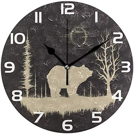 ALAZA Grunge Bear in Forest Round Acrylic Wall Clock Silent Non Ticking Oil Painting Home Office product image