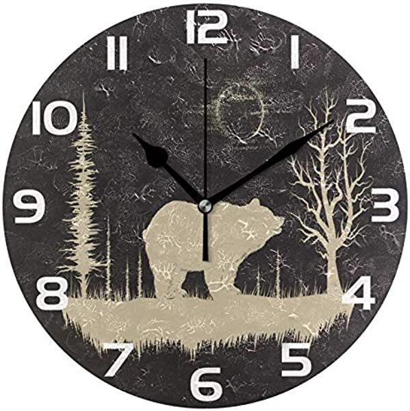 ALAZA Grunge Bear In Forest Round Acrylic Wall Clock Silent Non Ticking Oil Painting Home Office School Decorative Clock Art