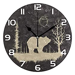 ALAZA Grunge Bear in Forest Round Acrylic Wall Clock, Silent Non Ticking Oil Painting Home Office School Decorative Clock Art