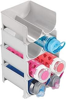 mDesign Plastic Freestanding Water Bottle Storage Organizer for Kitchen Countertop, Table, Pantry, Fridge - Holds Water Bottles, Pop/Soda, Wine, Beer - Stackable, 2 Bottles Each, 4 Pack - Light Gray