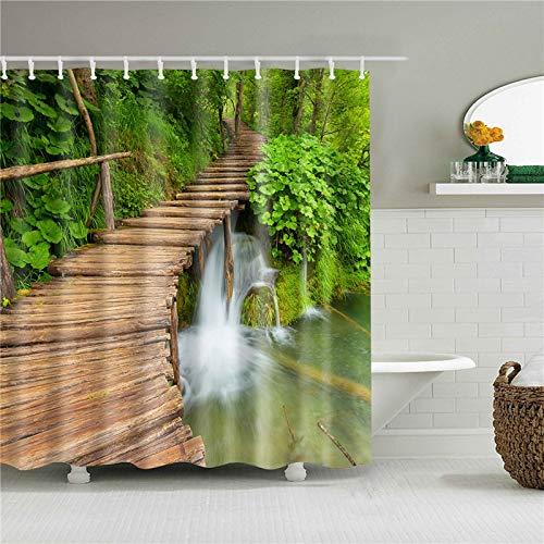 XCBN Shower room green scene bathroom curtains bathroom waterproof curtains for bathroom decorative curtains A23 180x180cm