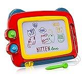 TENOL Pizarra magnética para niños de 3 a 4 años, pizarra mágica, regalos para niñas de 3 a 4 años de edad, pizarra magnética para pintar, regalo para niñas (tamaño de viaje), color rojo