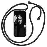 YuhooTech Funda con Cuerda para Samsung Galaxy A5 (2017), [Moda y Practico] [ Anti-Choque] [Anti-rasguños] Suave Silicona Transparente TPU Carcasa de movil con Colgante/Cadena, Negro Mate