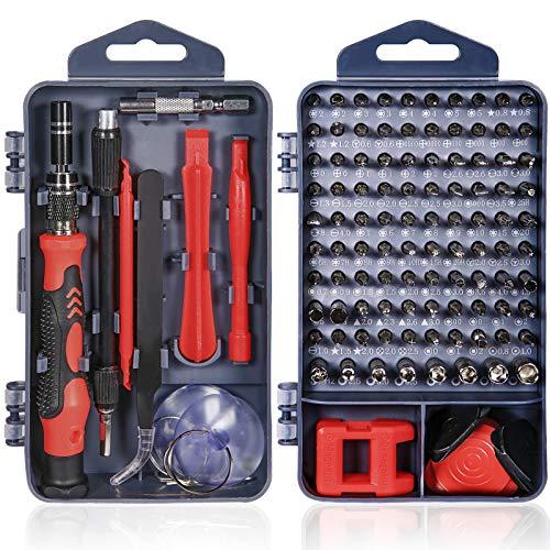 MUOIVG 120 en 1 Juego de Destornilladores de Precisión,Kit de Herramientas Precision de Reparación de Bricolaje Profesional para Reparar Electrónica, Teléfono Móvil, Laptop, Gafas, Mirar ect