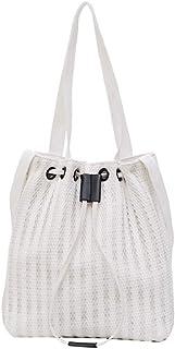 Wultia - Fashion Durable Women Student Lace Canvas Pocket Shoulder Bag Shopping Tote Female Slant Canvas Shopping Bags #G8 White