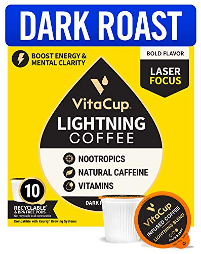 VitaCup Lightning Dark Roast Coffee Pods w/ Nootropics & Vitamins B1 B5 B6 B9 B12 for Enhanced Energy & Focus in Single Serve Pod Compatible with K-Cup Brewers Including Keurig 2.0, 10 Ct