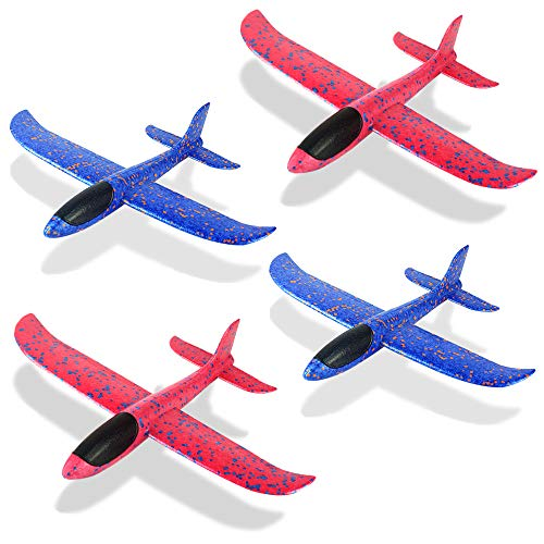 4 Pack Foam Airplane Toys, 12.4' Throwing Foam Plane, 3 Flight Mode Glider Plane, Flying Toy for...