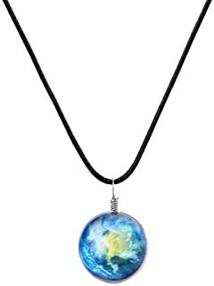 Galaxy & Cosmic Earth Glass Pendant Necklace, 17.7'' Leather Rope, Great Gift for Women