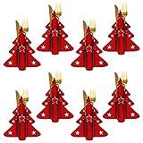 8 Stück Weihnachten Bestecktaschen Weihnachten Esstisch Dekoration Weihnachtsbaum Geschirr Taschen Besteckhalter Messer Gabeln Geschirrhalter Besteckbeutel Tischdeko für Party Abendessen Küche Dekor
