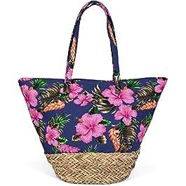 styleBREAKER Sac de Plage avec imprimé Multicolore Fleur d'hibiscus, Fond en Raphia et Fermeture à glissière, Sac à Main…