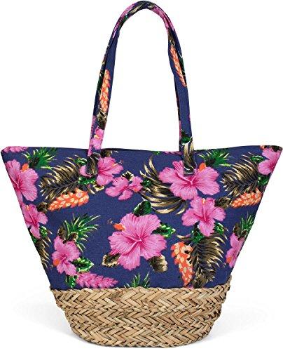 styleBREAKER Beach Bag with Colourful Hibiscus Flower Print, Raffia...