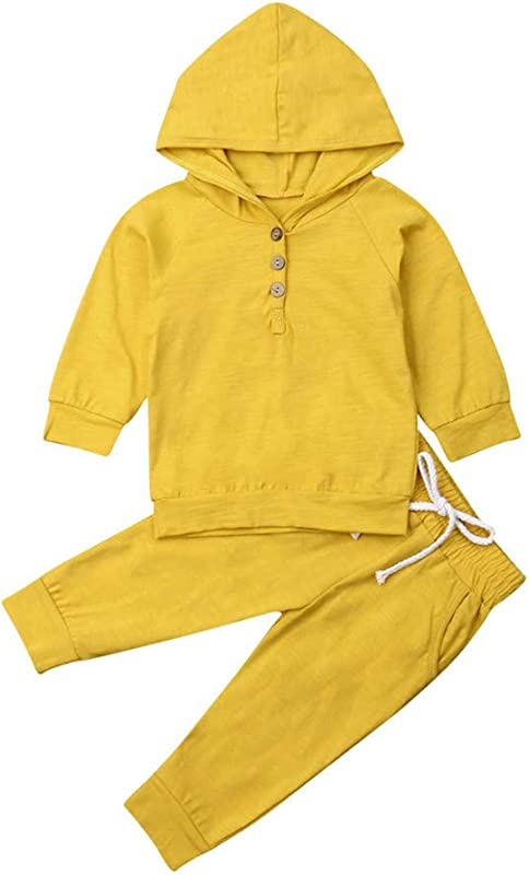 Newborn Baby Boy Girl Clothes Outfits Kids 2PCS Solid Colors Sweatsuit Set